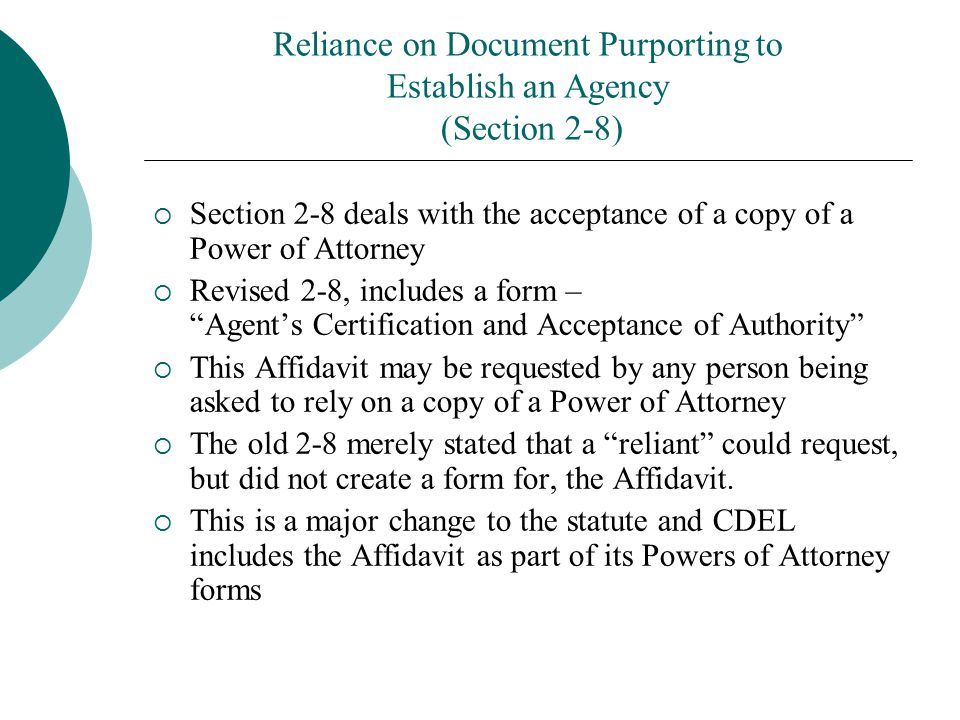 Reliance on Document Purporting to Establish an Agency (Section 2-8)
