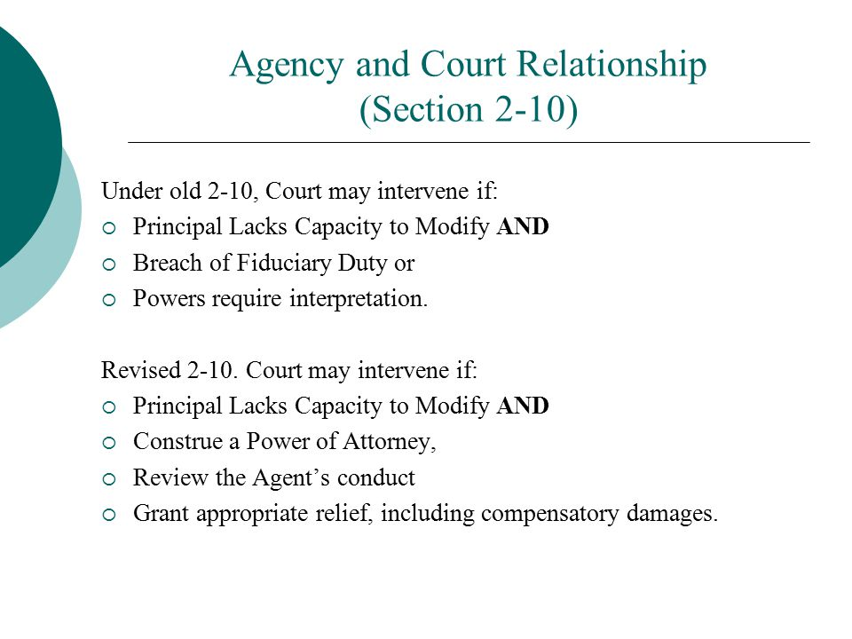 Agency and Court Relationship (Section 2-10)
