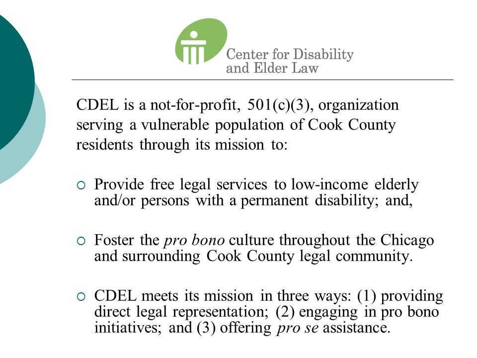CDEL is a not-for-profit, 501(c)(3), organization