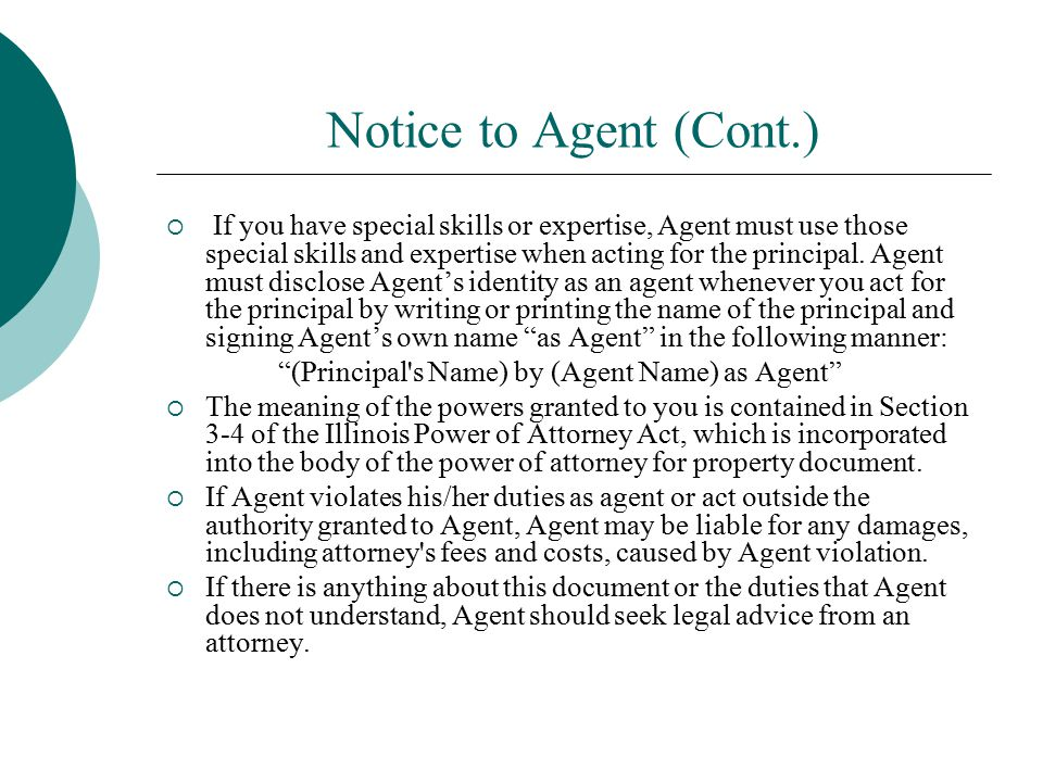 Notice to Agent (Cont.)