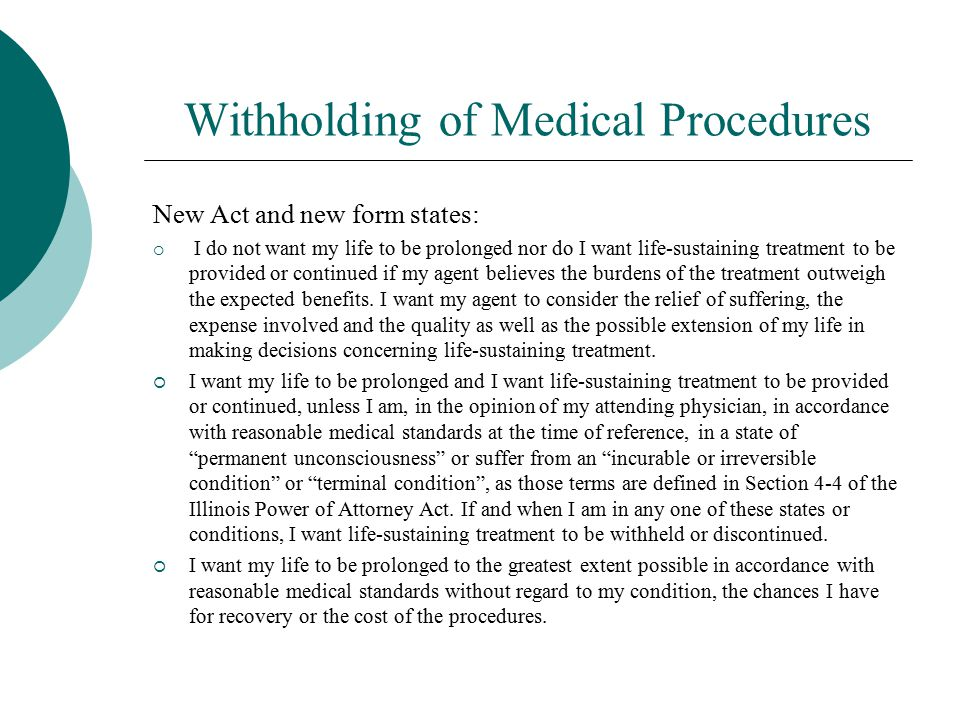Withholding of Medical Procedures