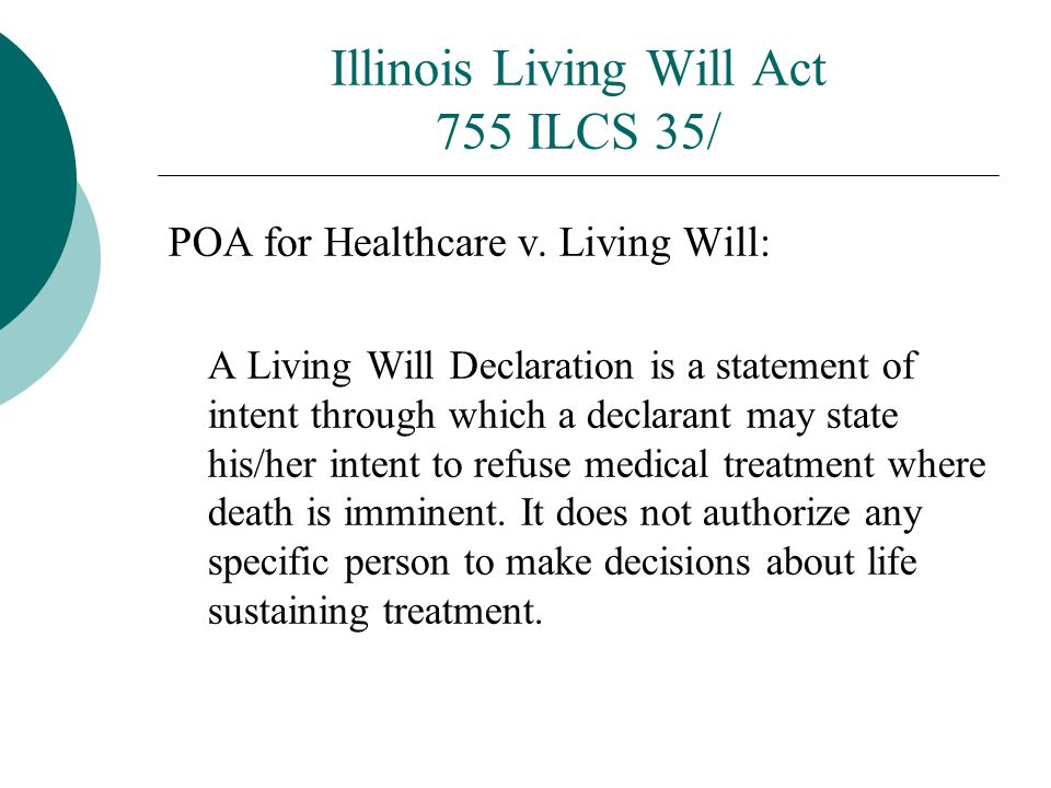 Illinois Living Will Act 755 ILCS 35/