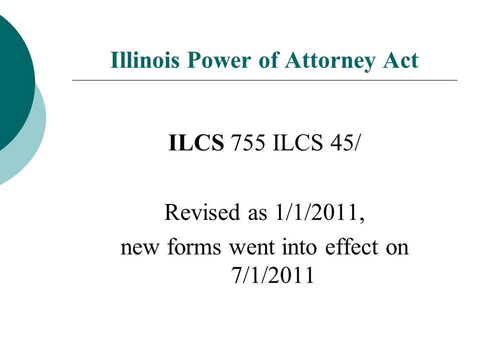 Illinois Power of Attorney Act