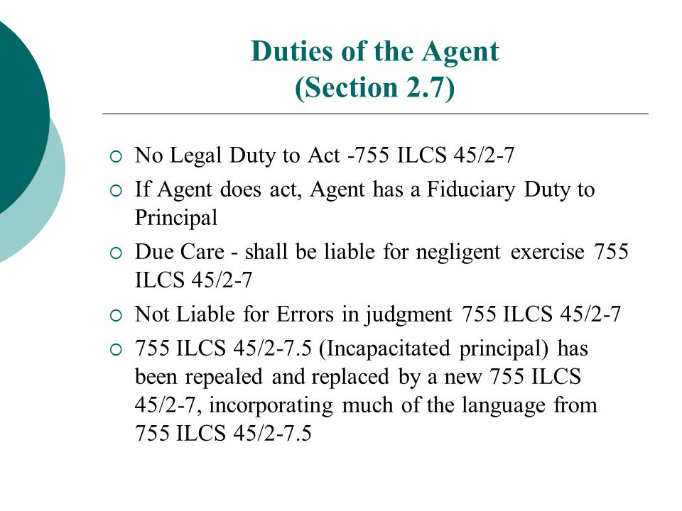 Duties of the Agent (Section 2.7)