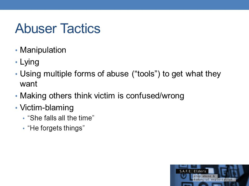 Abuser Tactics Manipulation Lying