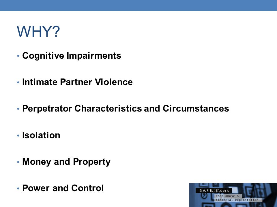 WHY Cognitive Impairments Intimate Partner Violence