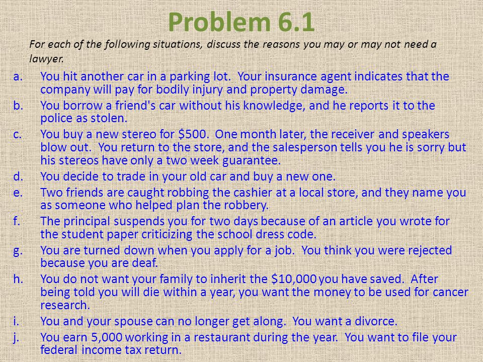 Problem 6.1 For each of the following situations, discuss the reasons you may or may not need a lawyer.