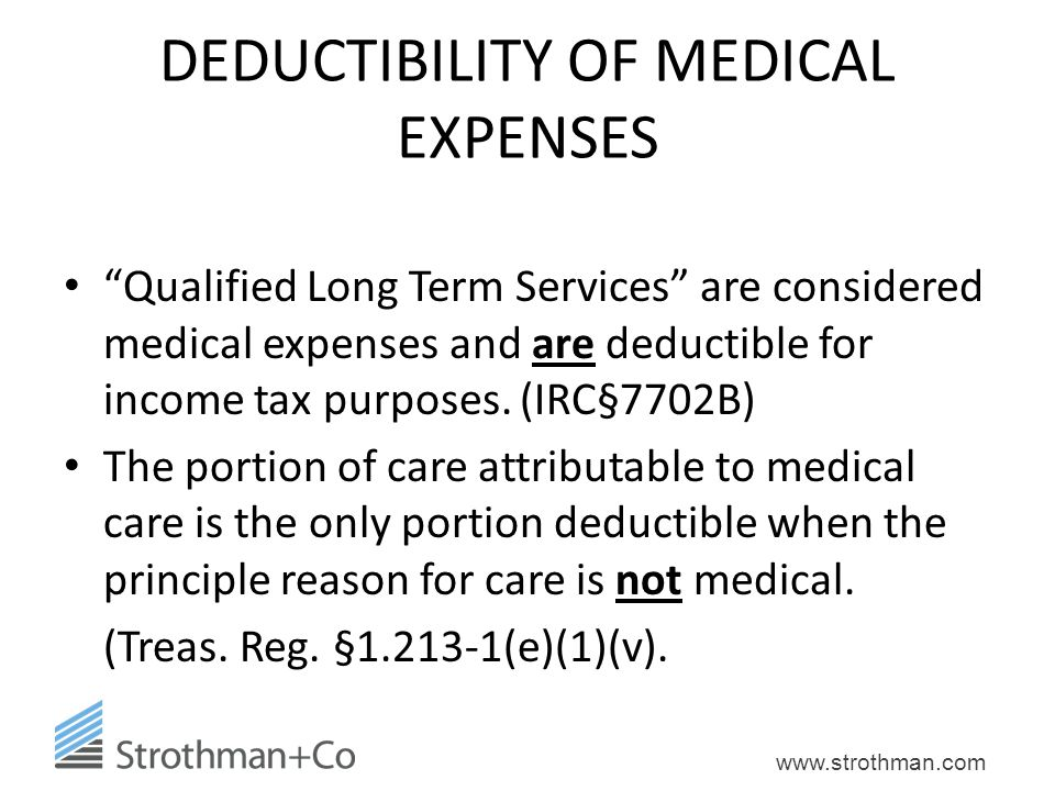 DEDUCTIBILITY OF MEDICAL EXPENSES