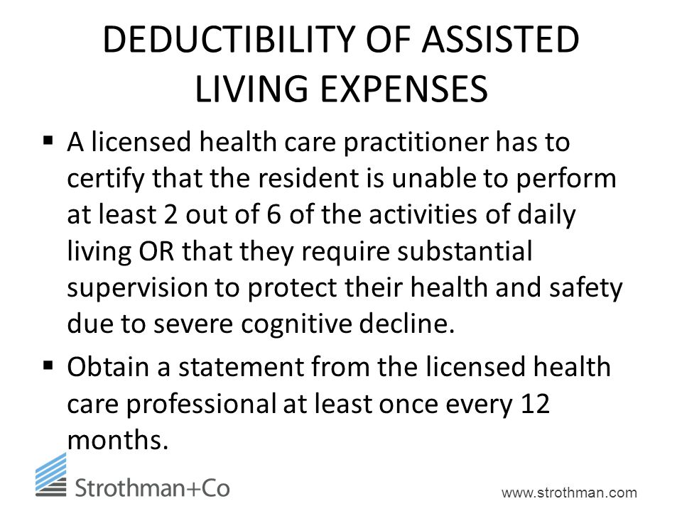 DEDUCTIBILITY OF ASSISTED LIVING EXPENSES