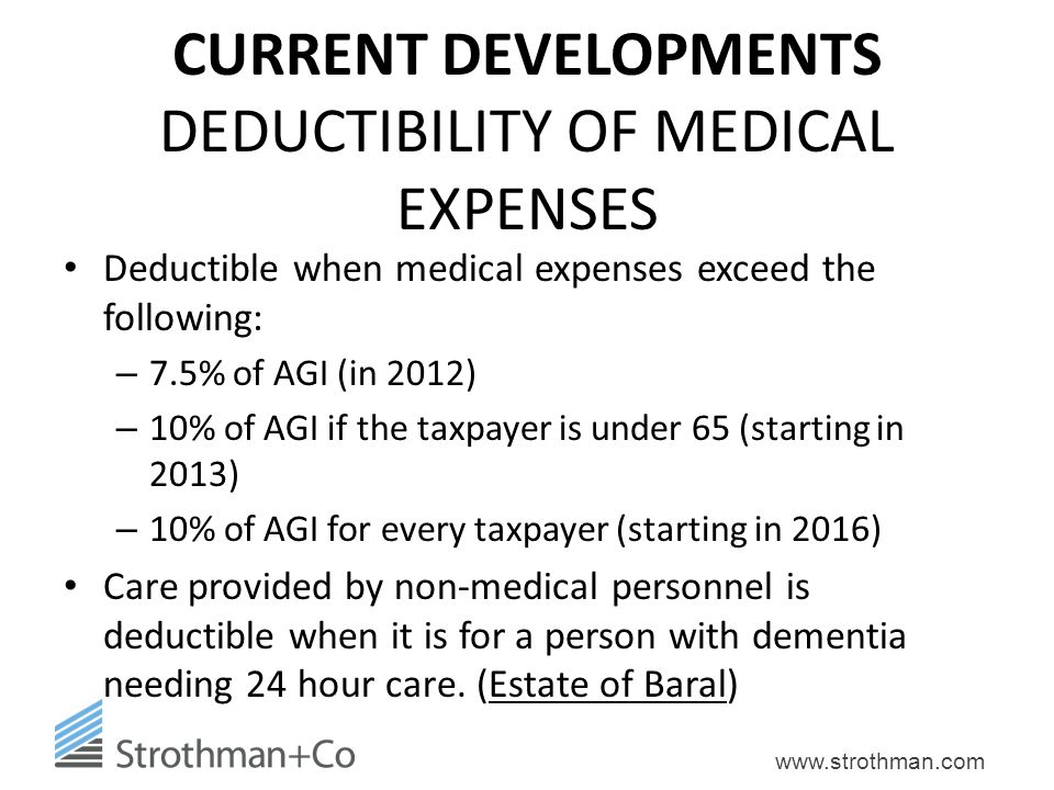 CURRENT DEVELOPMENTS DEDUCTIBILITY OF MEDICAL EXPENSES