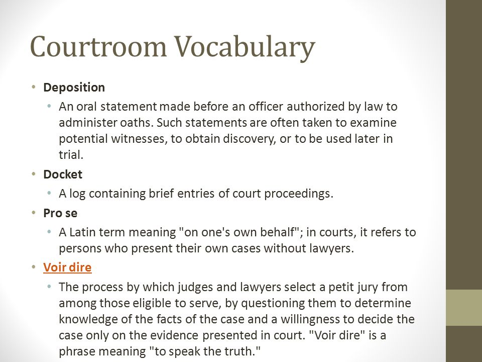 Courtroom Vocabulary Deposition