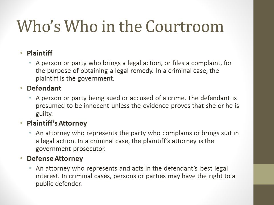 Who's Who in the Courtroom