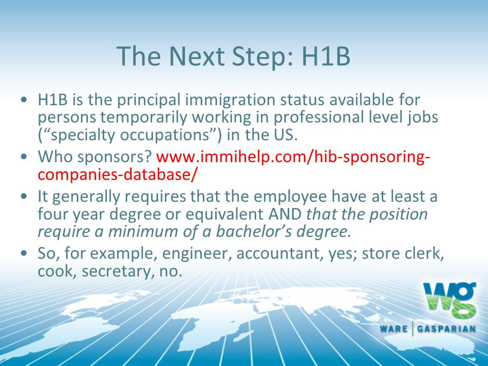 The Next Step: H1B