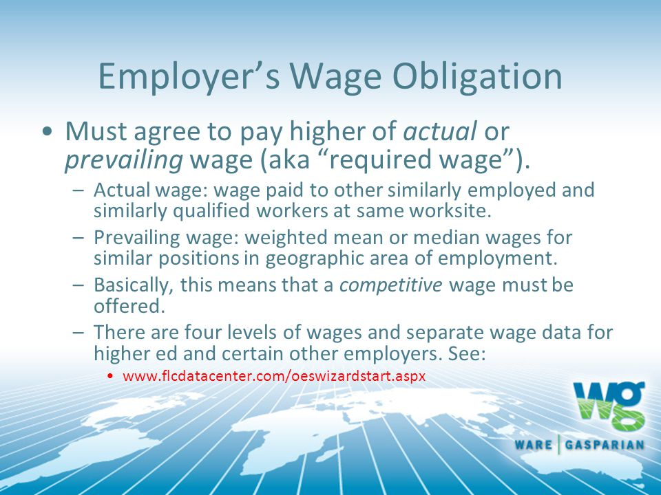 Employer's Wage Obligation