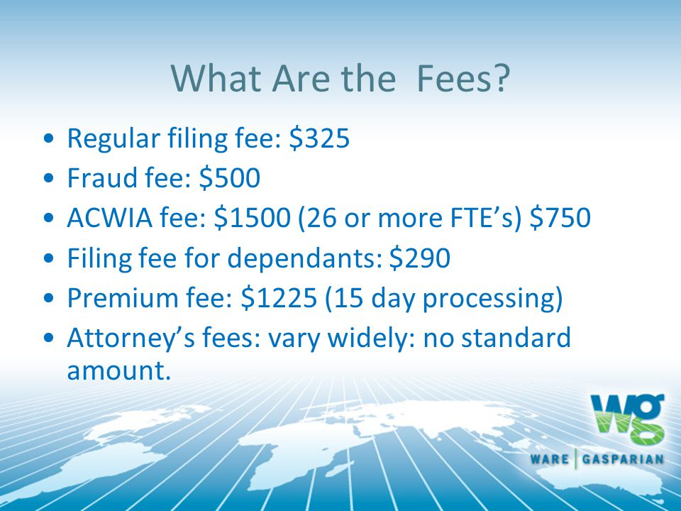 What Are the Fees Regular filing fee: $325 Fraud fee: $500