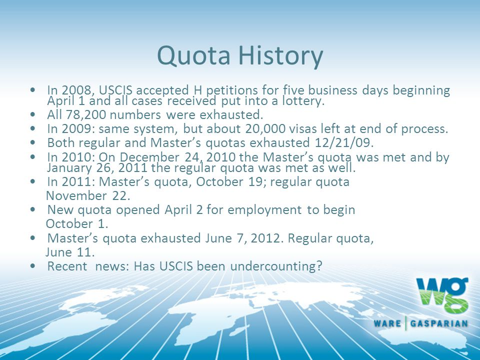 Quota History In 2008, USCIS accepted H petitions for five business days beginning April 1 and all cases received put into a lottery.