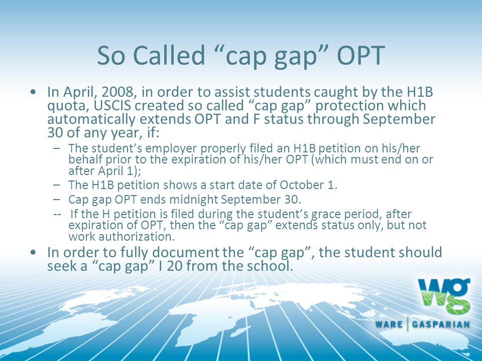 So Called cap gap OPT