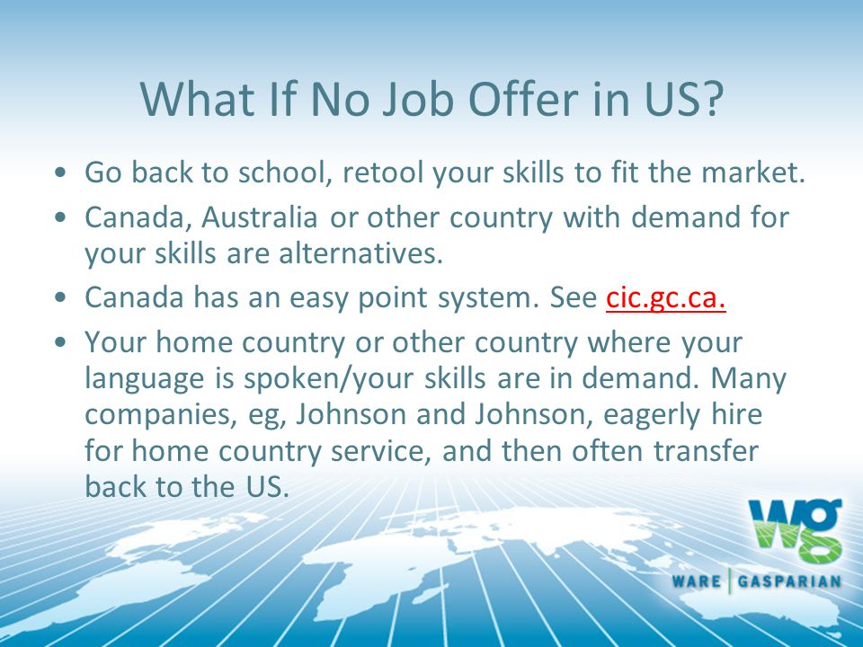 What If No Job Offer in US