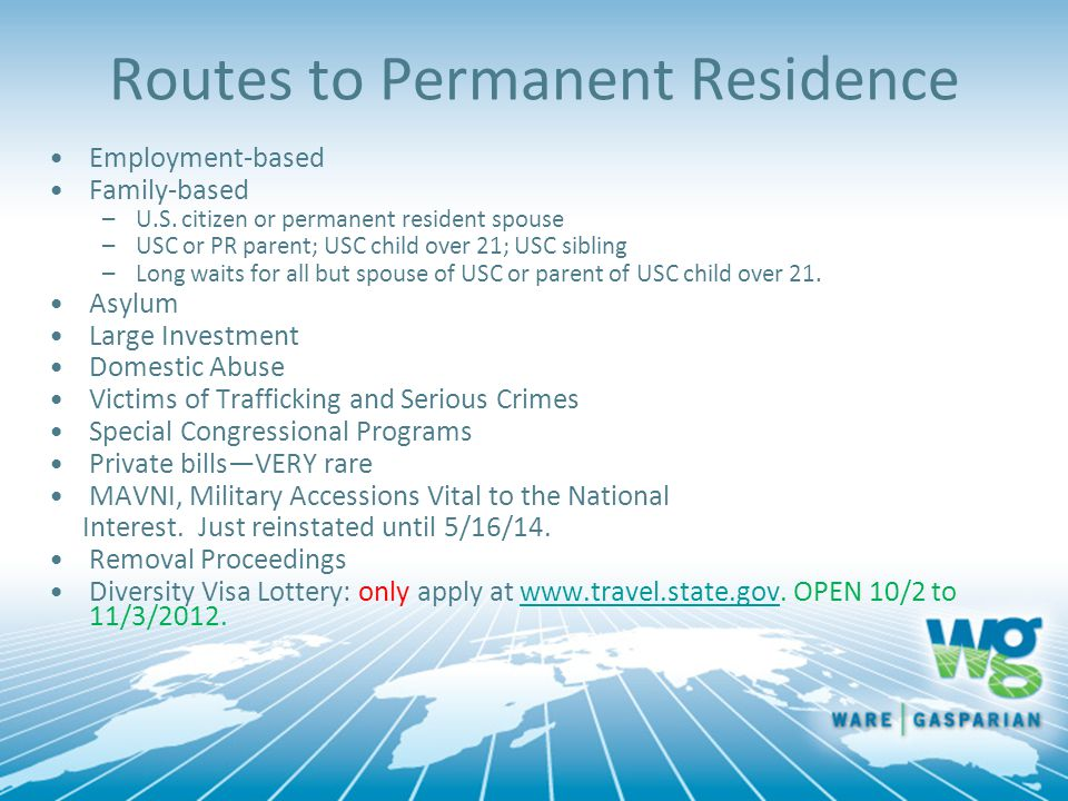 Routes to Permanent Residence