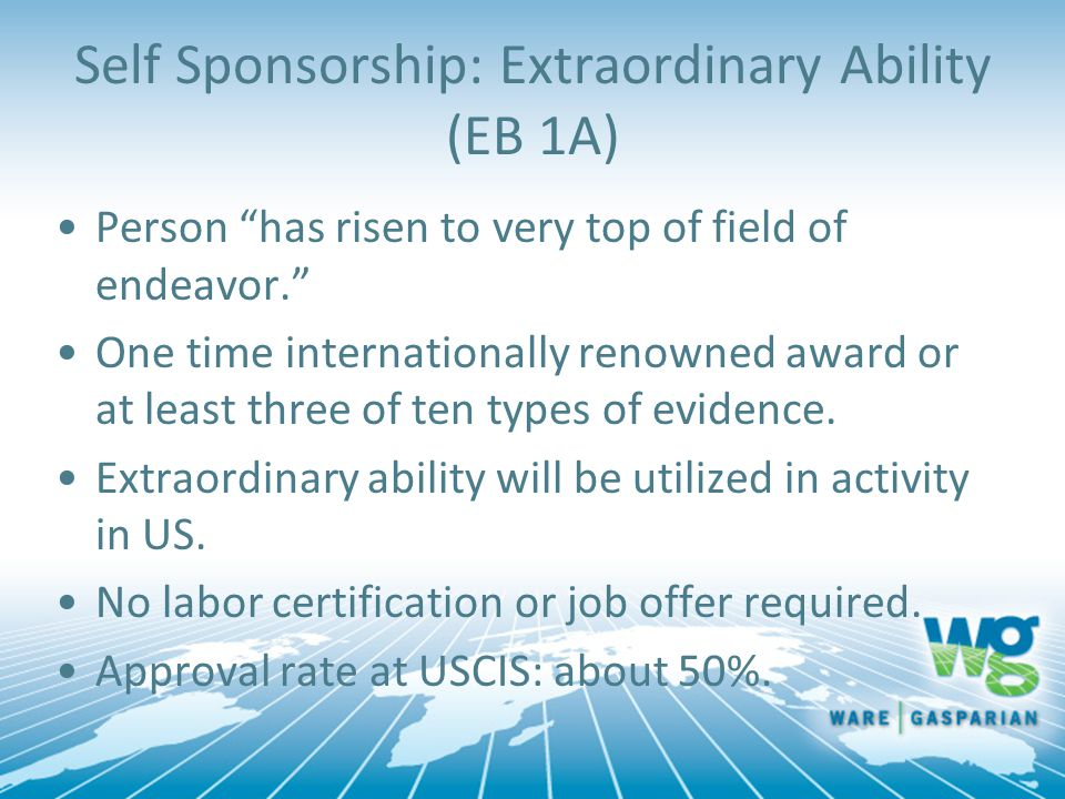 Self Sponsorship: Extraordinary Ability (EB 1A)