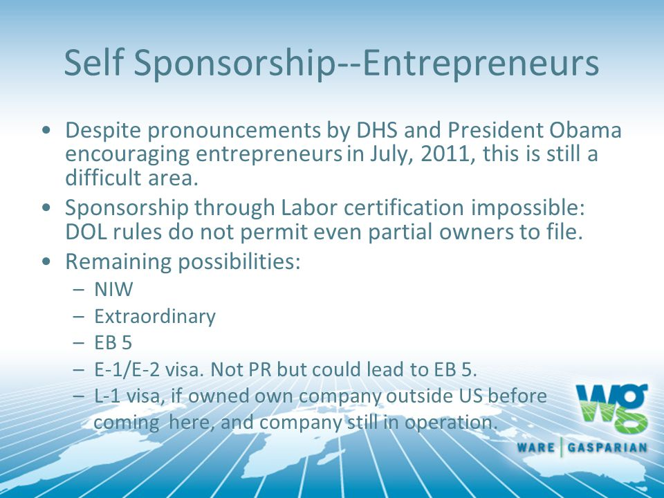 Self Sponsorship--Entrepreneurs