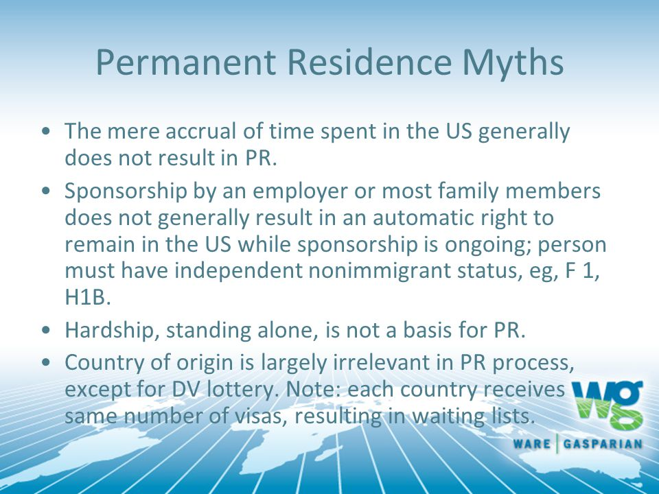 Permanent Residence Myths