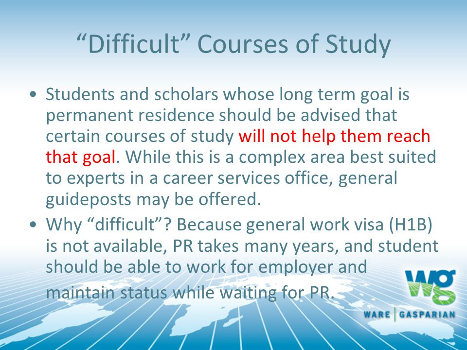 Difficult Courses of Study