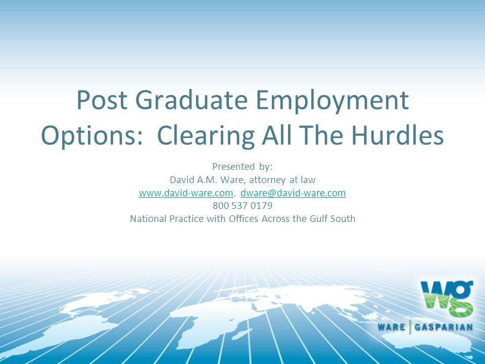 Post Graduate Employment Options: Clearing All The Hurdles