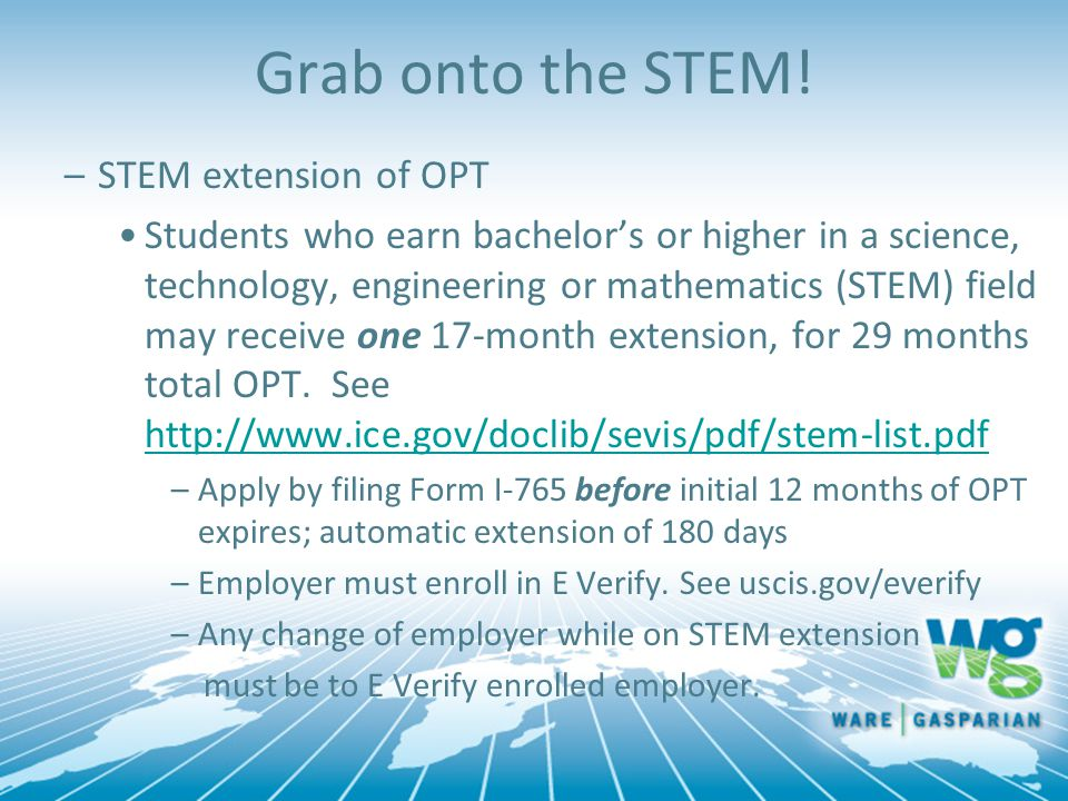 Grab onto the STEM! STEM extension of OPT