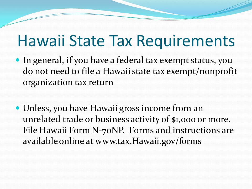 Hawaii State Tax Requirements