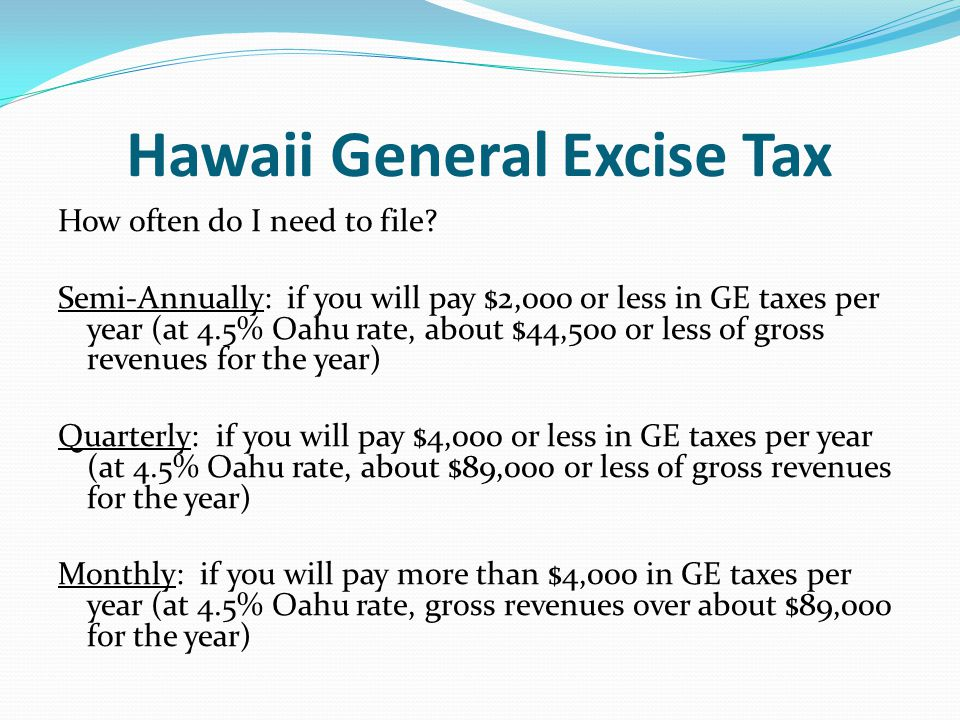 Hawaii General Excise Tax
