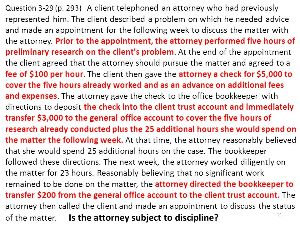 Question 3-29 (p. 293) A client telephoned an attorney who had previously represented him.