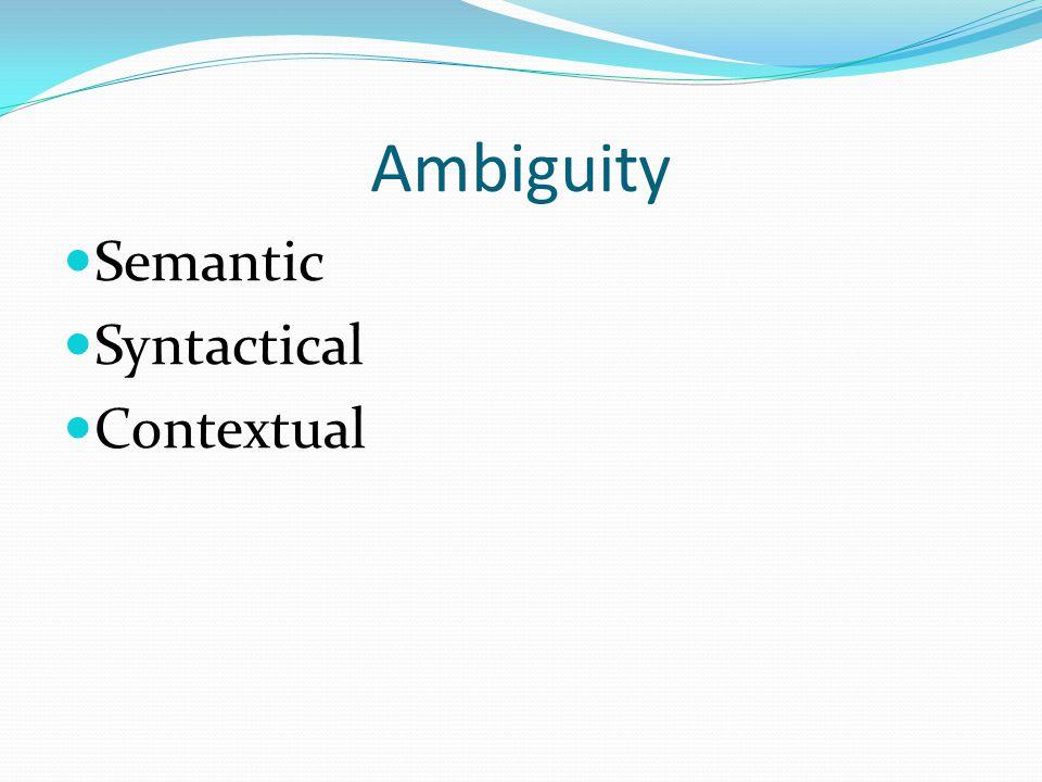Ambiguity Semantic Syntactical Contextual