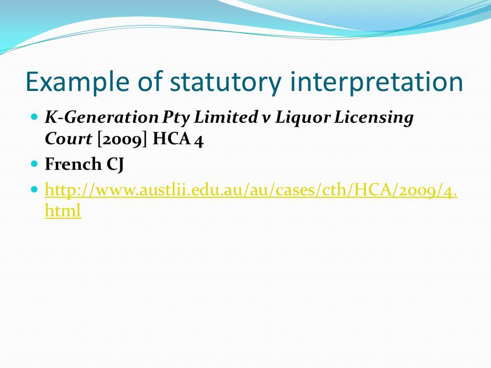 Example of statutory interpretation