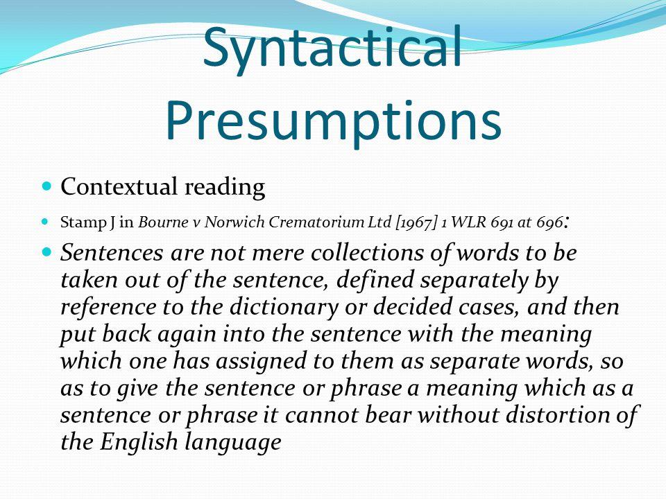 Syntactical Presumptions