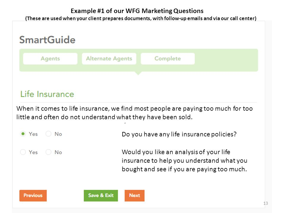 Example #1 of our WFG Marketing Questions