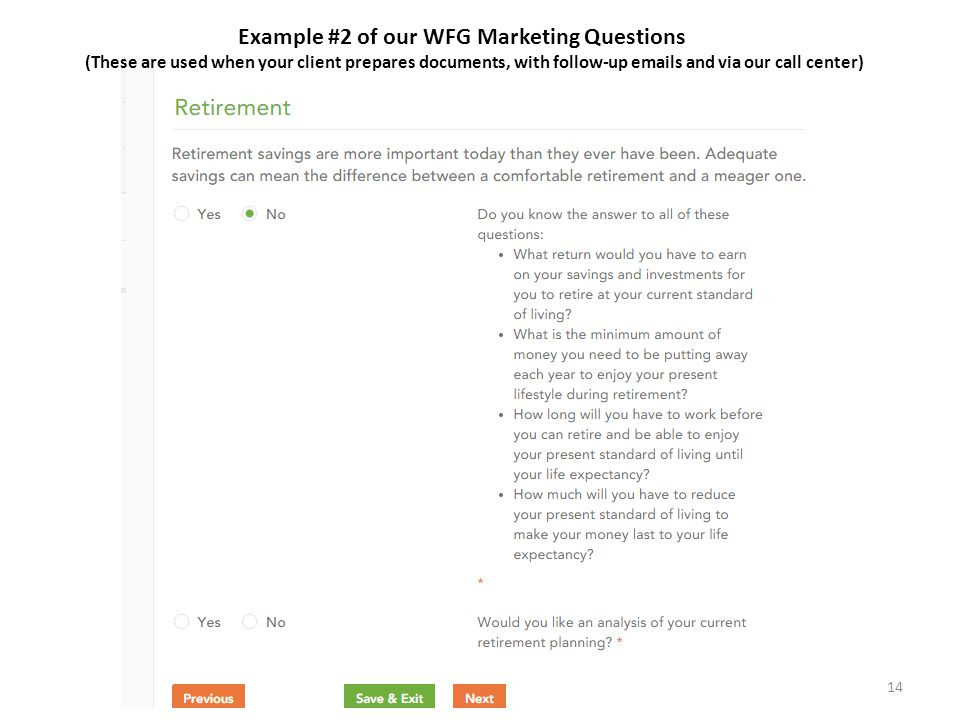 Example #2 of our WFG Marketing Questions