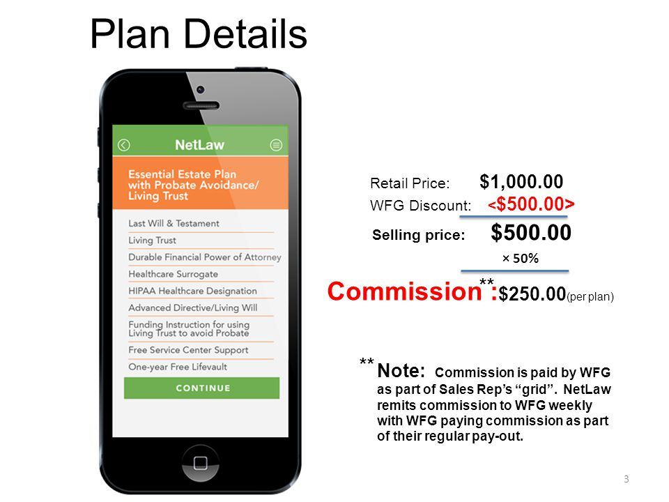 Plan Details Commission : ** $250.00(per plan) **