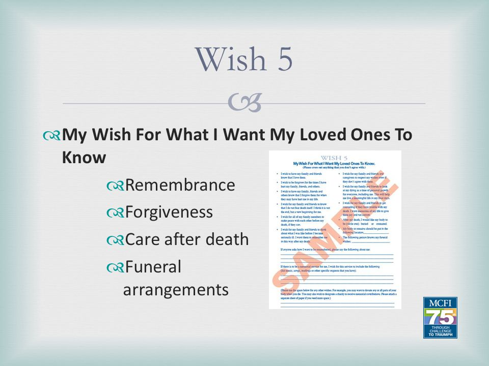 Wish 5 My Wish For What I Want My Loved Ones To Know Remembrance