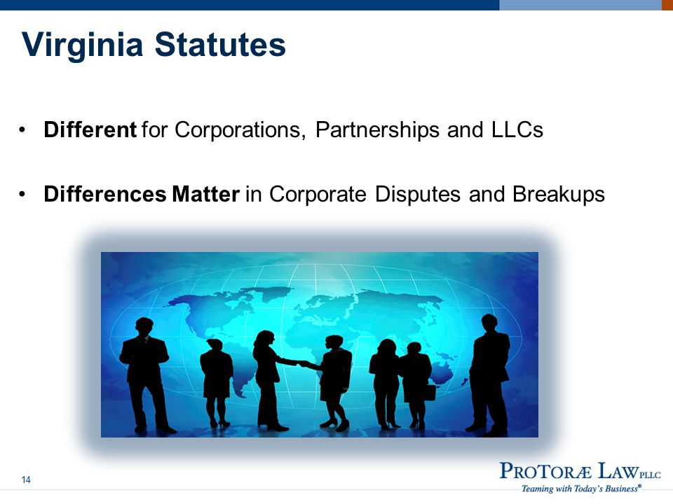 Virginia Statutes Different for Corporations, Partnerships and LLCs