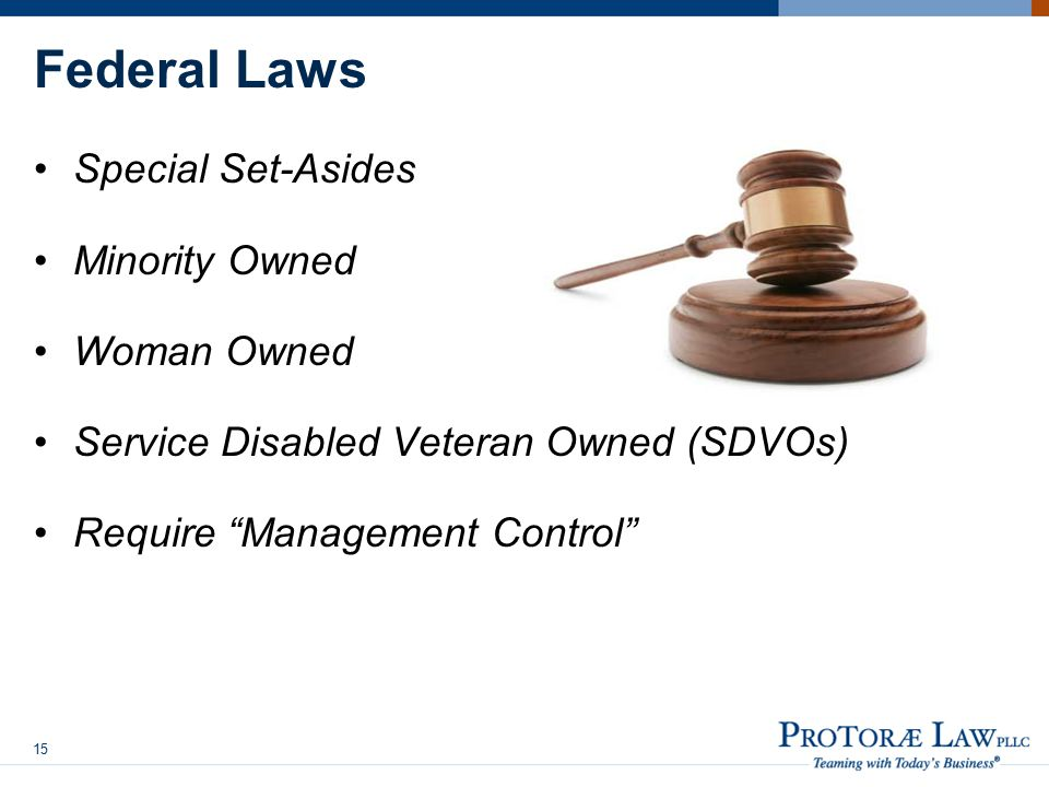 Federal Laws Special Set-Asides Minority Owned Woman Owned