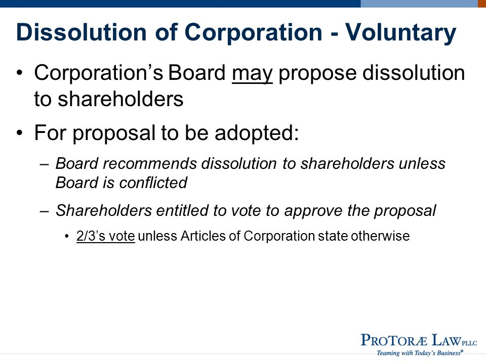 Dissolution of Corporation - Voluntary