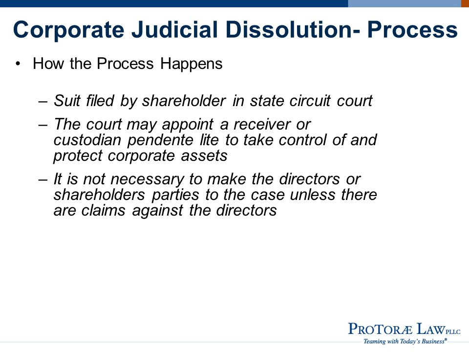 Corporate Judicial Dissolution- Process