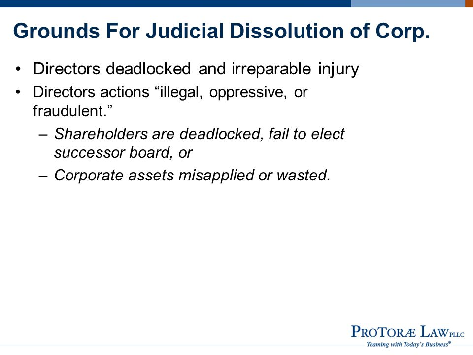 Grounds For Judicial Dissolution of Corp.