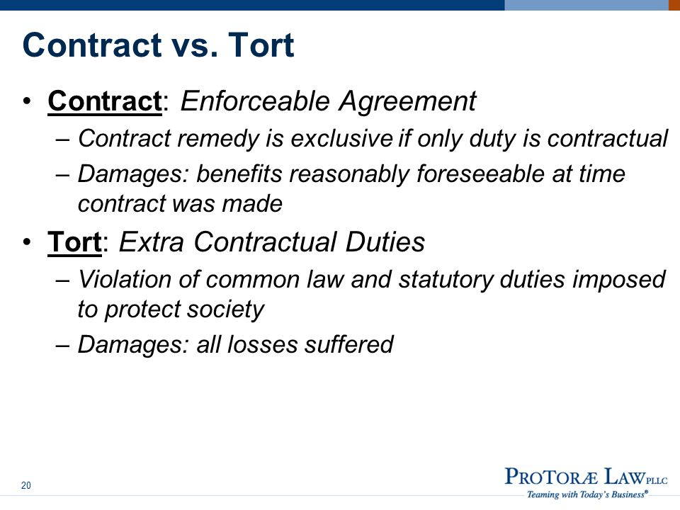 Contract vs. Tort Contract: Enforceable Agreement