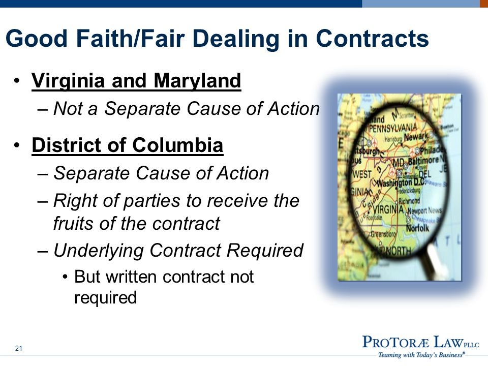 Good Faith/Fair Dealing in Contracts