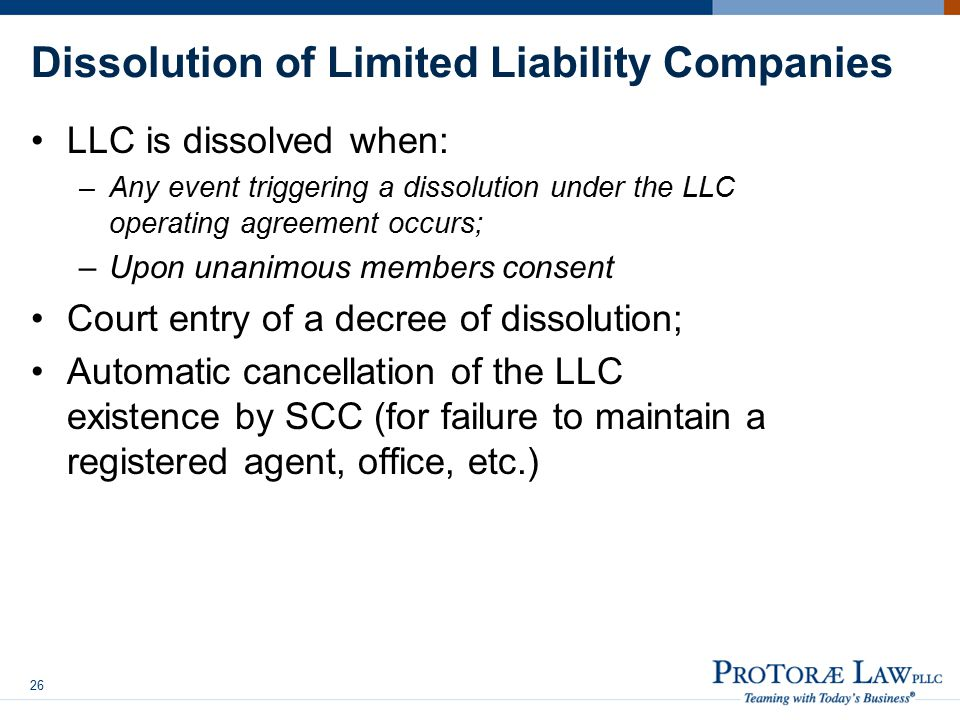 Dissolution of Limited Liability Companies