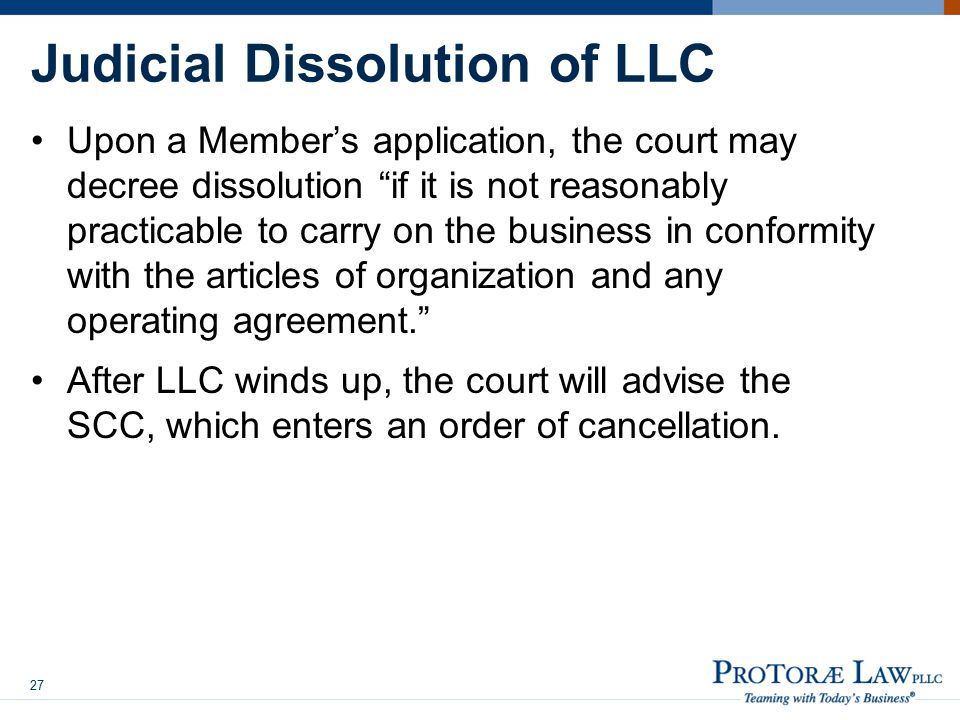 Judicial Dissolution of LLC