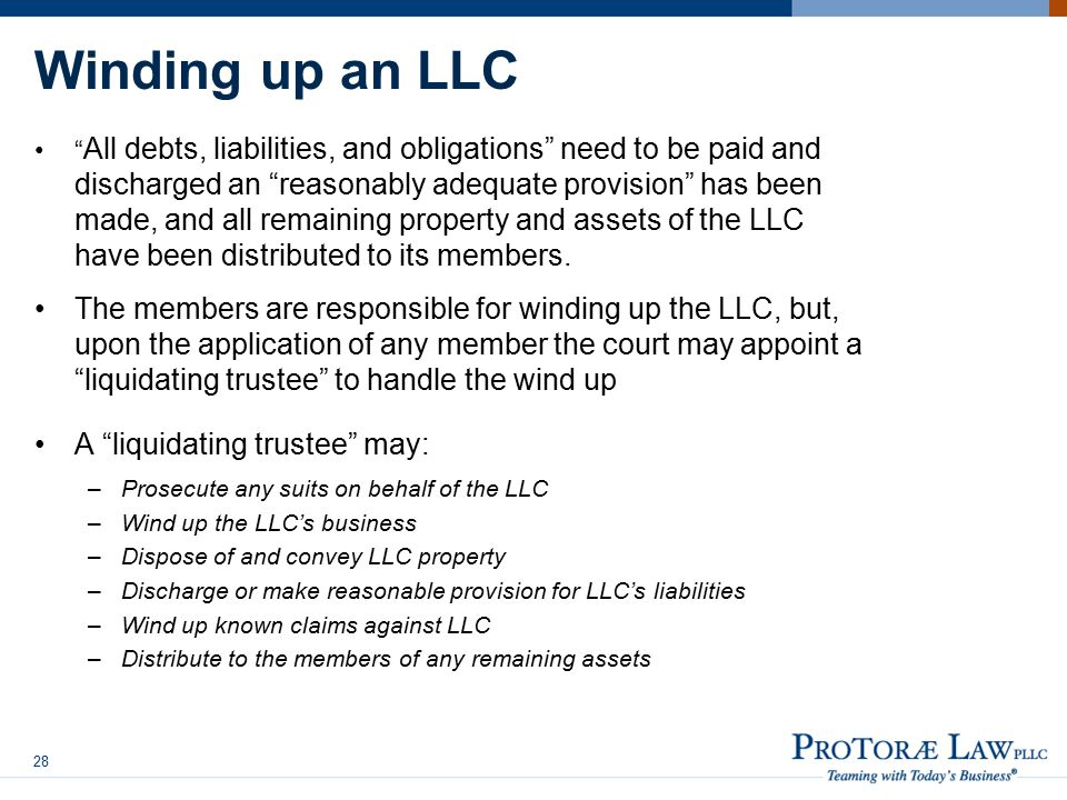 Winding up an LLC