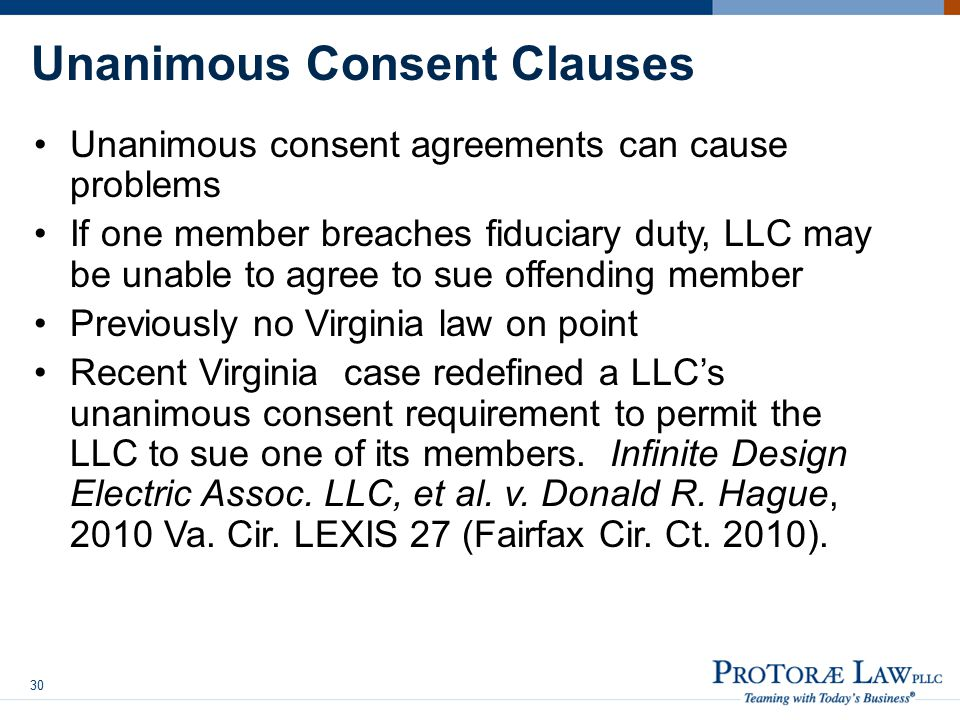 Unanimous Consent Clauses
